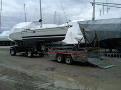 Had to get the cradle. 80km's away in a marina. rented a trailer and brought it to the boat to ship it.