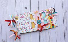 Colorful baby scrapbook album, baby girl gift, premade scrapbook, mini chipboard album, baby shower gift, baby girl scrapbook, guestbook by sandysscrapbooks on Etsy