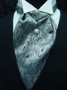 Men s Gray Paisley Old West Victorian Style Wedding Ascot Tie with Tie Tack…