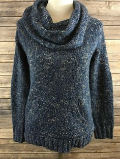 Kensie Women's Blue Elbow Patch Cowl Neck Knit Long Sleeve Sweater Size XS NEW…