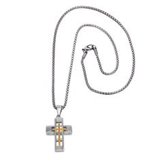 This elegant jewelry will definitely upgrade any appearance with an eye-catching, holy looking touch, featuring a beautiful silver and gold cross design, crafted in quality stainless steel.  Why Choose Stainless Steel Jewelry?  Stainless steel is water resistant, hypoallergenic, will never rust, darken or look old, will keep its original appearance for years after you buy it and will look like NEW in 10 years or more! It's so easy to clean – just wipe it like you would clean your sunglasses.