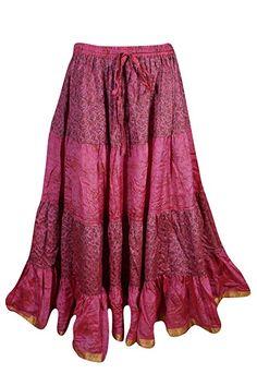 2b35f81096 Mogul Womens Vintage Tiered Sari Skirt Recycled Boho Full Flared Gypsy Maxi  Skirts: Amazon.ca: Clothing & Accessories