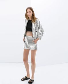 striped shorts suit
