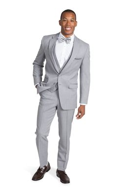 Rent the Heather Gray Suit by Allure Men, a light grey two button notch lapel suit. Shop online now for rental suits and tuxedos at Stitch & Tie! Grey Tuxedo Wedding, Wedding Suits, Wedding Men, Blue Wedding, Wedding Dresses, Groom And Groomsmen Suits, Groom Tux, Suit Rental, Mens Fashion Summer Outfits