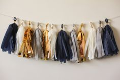 Navy White Gold Mylar Grey Tassel Garland 12 by LoveGarlands, $19.00