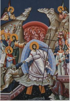 This is one of my favorite Eastern Orthodox icons. It is referred to as Christ's Descent into Hades, Anastasis or Resurrection Icon. It is the primary icon of Pascha (Easter). Some key features: … Byzantine Art, Byzantine Icons, Religious Icons, Religious Art, La Résurrection Du Christ, Orthodox Easter, Christ Is Risen, Jesus Art, Orthodox Christianity