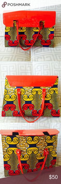 Ankara purse Huge cute purse in RED AND YELLOW  VIBRANT ANKARA  PRINT . HANDMADE !!!! Great for travel or overnight bag. Bags Travel Bags