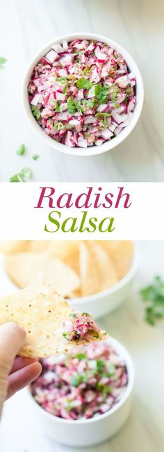 Radish Salsa is a simple and slightly unusual salsa made from bright, fresh ingredients! Make the most of radish season with this easy recipe! Mexican Food Recipes, Real Food Recipes, Vegetarian Recipes, Cooking Recipes, Yummy Food, Healthy Recipes, Chimichurri, Tostadas, Appetizer Recipes