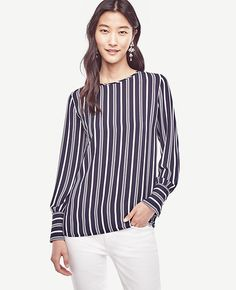 f09c115472e08 Image of Striped Wide Cuffed Blouse Petite Tops