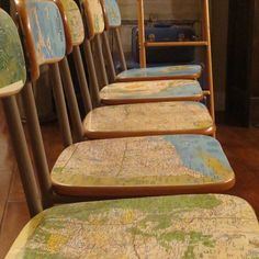 Junk Gypsy Home Decorating | Old school chairs + National geographic maps = Knock off Anthro chairs ...