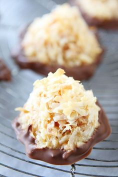 Recipe for Salted Caramel Toffee Coconut Macaroons on twopeasandtheirpod.com Dipped in chocolate too!