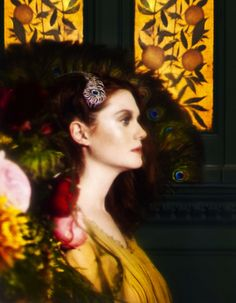 """The Terrier and Lobster: """"Genius in Beauty"""": Bonnie Wright (aka Ginnie Weasley) Goes Pre-Raphaelite in the Green Room of the Victoria and Albert Museum Shot by Yuval Hen for How to Spend It"""