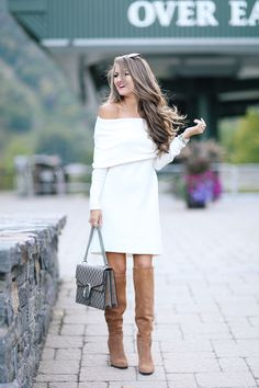 fall dress, gucci handbag, OTK boots