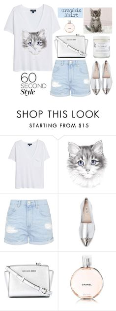"""""""Graphic T-Shirt"""" by rever-de-paris ❤ liked on Polyvore featuring MANGO, Topshop, Miu Miu, MICHAEL Michael Kors, Chanel, women's clothing, women, female, woman and misses"""
