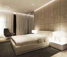 Painel atrás de cabeceira. Master bedroom planejado por Katarzyna Kraszewska