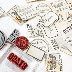 """Satu Järvinen on Instagram: """"Lovely little canvas tickets and labels ✨ I could make ton of these! #junkjournalsupplies #journalsupplies #tickets #labels…"""" Tim Holtz Stamps, Stampers Anonymous, Field Notes, Junk Journal, Ephemera, Embellishments, Canvas, Crafts, Handmade"""