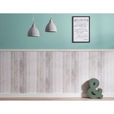 Heb je er wel eens aan gedacht om mooi behang te gebruiken als lambrisering? Dit is erg mooi wanneer je behang met een print van bijvoorbeeld steigerhout gebruikt! #kwantum #behang #lambrisering #muurdecoratie #wonen #interieur #steigerhout