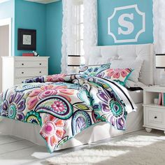 #Home #Decor: Furniture and Decorators: Kennedy Colorful Paisley Quilt + Sham - could see this looking awesome in a dorm room too!