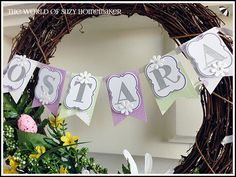 The World of Suzy Homemaker's spring wreath with Ostara (Easter) Banner - www.suzy-homemaker.co.uk | @SuzyHomemakerUK