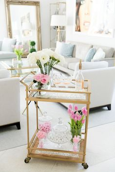 Valentine& Day Bar Cart by Fashionable Hostess - Whispering Angel, julsika,. Diy Bar Cart, Gold Bar Cart, Bar Cart Styling, Bar Cart Decor, Bar Carts, Fashionable Hostess, Bar Furniture, Plywood Furniture, Credenzas