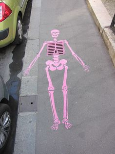 Sometimes it's the simplest street art that gets the most attention. Wouldn't you stop and look at this in the middle of the street?