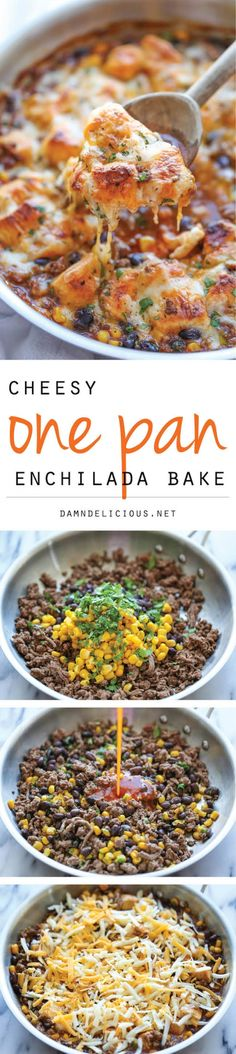 One Pan Enchilada Bake - The easiest and cheesiest enchilada bake made in a single pan - easy peasy with only one dirty pot. You can't beat that! It's super delicious! Mexican Food Recipes, Beef Recipes, Cooking Recipes, Healthy Recipes, Recipies, Enchiladas, Great Recipes, Dinner Recipes, Favorite Recipes