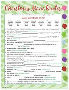 Fun Christmas Party Game Popular Quotes most popular christmas movie quotes Christmas Party Games For Adults, Adult Christmas Party, Xmas Games, Printable Christmas Games, Christmas Trivia, Christmas Gift Exchange, Holiday Games, Merry Christmas To All, Family Christmas