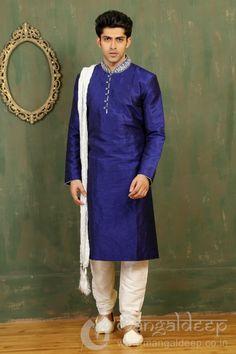 Staggering Royal Blue Dupion Art Silk Readymade Manswear Sharwani