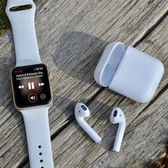 AirPods, the perfect WATCH accessory. #AppleWatch #AirPods #iphoneairpods,