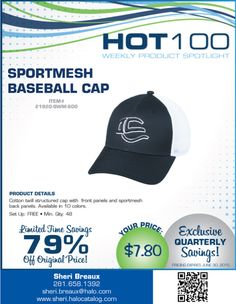 Promotionally Yours: Hot 100...special Sports mesh Baseball Cap