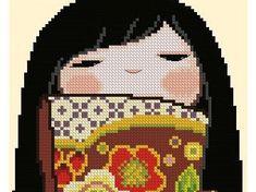 Japanese Kokeshi Girly Doll HIROMI Cross Stitch Pdf Pattern