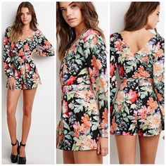 Floral long sleeve romper Lightweight romper featuring floral print. Long sleeves with a button on sleeve. Surplice front with snap closure. V cut back with concealed zipper. Rayon material. Unlined. Forever 21 Other