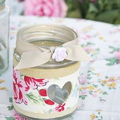 Rose Jam Jar Candle Holder - table decorations