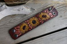 Sunflower Cuff Bracelet Leather Tooled Dark Brown by TravelingW