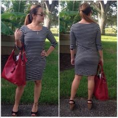 Last mediumTunic dress Black & white stripe tunic dress with 3/4 tab sleeves. Price is firm unless bundled❗️Medium (6/8) Dresses