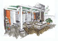 Southern Style Porch...Design and Rendering by Michelle Morelan