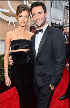 Adam Levine & Behati Prinsloo. Golden Globes 2015