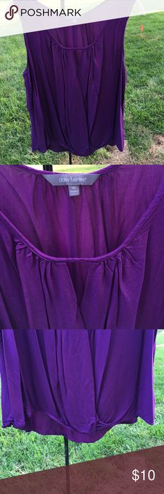 Passion for purple This fantastic top is dying for attention and I am not able to do that!!!  It is perfect for layering, or wearing on your own, lightweight and so stunning.  V shaped cutout at neckline and high low profile makes this top stand out.  I have only worn it twice and it is too big, I struggled with it staying put!! Daisy Fuentes Tops Tank Tops
