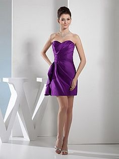 Side Draped Strapless Satin Bridesmaid Dress - USD $95.99