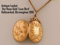 9ct Solid Gold Locket Antique Locket Necklace by AntiqueLockets