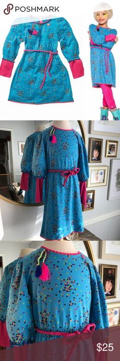 "Mim-Pi Turquoise ""Urban Ethnic"" Dress Turquoise long sleeve dress w/ confetti dots & tassels accent Ric rack pink trim & 2fer sleeves Elastic waist w/ removable pink braided tie belt Machine wash cold; do not bleach  Size 7 Chest 26"" Length 26.5"" ✨in perfect condition only worn 3 times✨ mim-pi Dresses Casual"