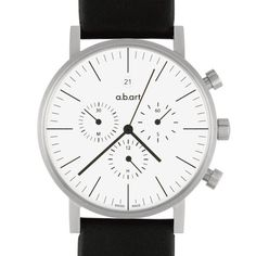 a.b.art Men's Quartz Watch with White Dial Chronograph Display and Black Leather…