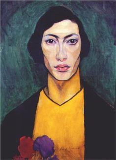 Auto Retrato - Nathan Altman - Judeu Russo 22.12.1889 Vinnitsa 12.12.1970 - sobrepõe realismo tradicional primitivo c os princípios do construtivismo e o cubismo