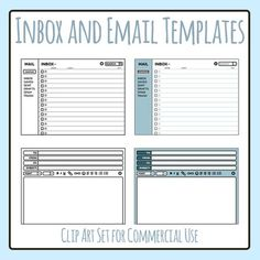 Blank Email Templates Clipart Set - 4 pieces of clip art in a pack or bundle for your worksheets or educational resources.  All images or pictures are high resolution so you can have large illustrations of them and they'll still be clean and beautiful.Images are in PNG format with a transparent background (there aren't white areas around the outside edge) so they can be dropped into your documents easily, and layered with text or other images.
