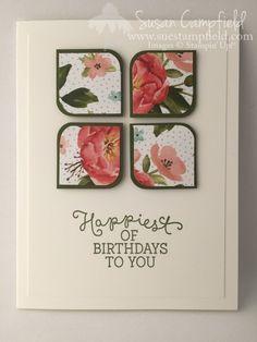 Birthday Bouquet Corner Round Flower Card - 1