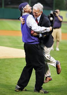 After catching Joe Riley's ceremonial first pitch, Bill Murray, actor and part owner of the Charleston RiverDogs, twirls the surprised Charleston mayor at the team's home opener in April at Riley Park. By Wade Spees