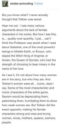 Tolkien not being sexist - part 1