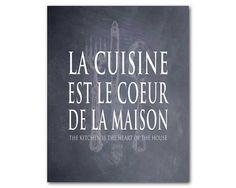 French Kitchen Wall Art  La cuisine est le by SusanNewberryDesigns
