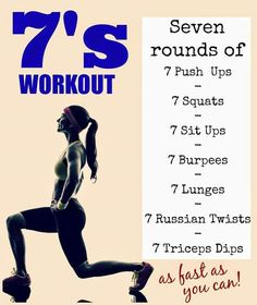 The 7's Workout. 7 rounds of 7: Push Ups, Squats, Sit Ups, Burpees, Lunges, Russian Twists & Tricep Dips as fast as you can.
