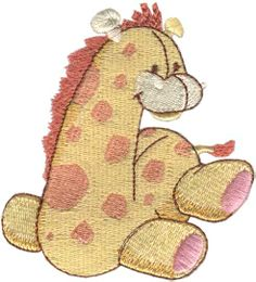 "Gerald Giraffe (from Ragdoll Critters) adorably cute baby animals for 4"" hoops. #machineembroidery #embroiderydesigns #animals #baby"